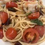 Spaghetti Tiger Prawns with fresh cherry tomatoes